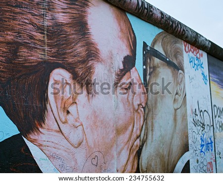 BERLIN - NOV 15, 2014: Kiss between Brezhnev and Honecker painted on the Berlin Wall at East Side Gallery.