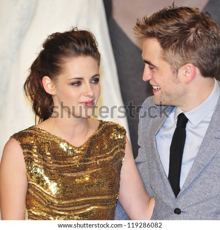 BERLIN - NOVEMBER 16: Kristen Stewart and Robert Pattionson attend the 'Twilight Saga: Breaking Dawn Part 2' Germany Premiere at CineStar on November 16, 2012 in Berlin, Germany. - stock photo