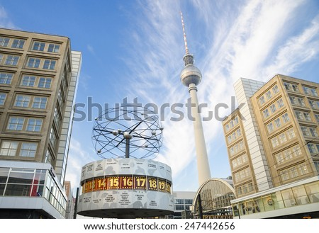 BERLIN -NOVEMBER 11: World clock and TV Tower in Alexanderplatz,11 November 2014 Berlin, Germany.Alexanderplatz is a large square and transport hub, named in honor of the Russian Emperor Alexander I.