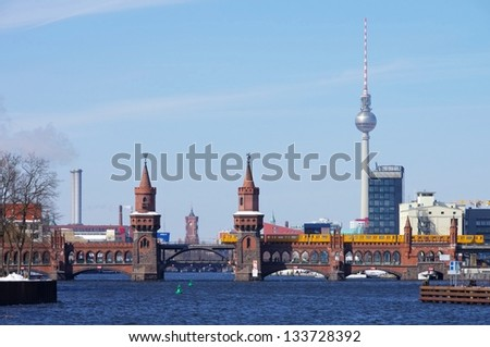 Berlin Oberbaumbridge and television tower - stock photo