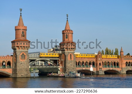 BERLIN, OCTOBER 27: Oberbaumbruecke (Oberbaum bridge), river Spree on October 27, 2014 in Berlin, Germany. Oberbaumbruecke is one of the most popular landmarks of the city.