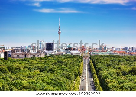 Berlin panorama. Top view on Television Tower, Berlin Catherdral, Brandenburg Gate and Reichstag. View from the Victory Column - stock photo