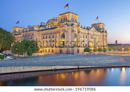 Berlin Reichstag. Image of illuminated Reichstag Building in Berlin, Germany. - stock photo