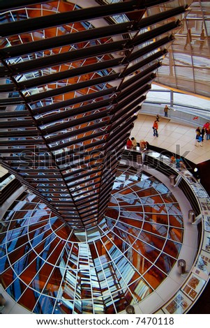 Berlin Reichstag, inside the glass dome 01 - stock photo