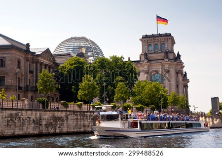 Berlin - Reichstag viewed from Spree river surface
