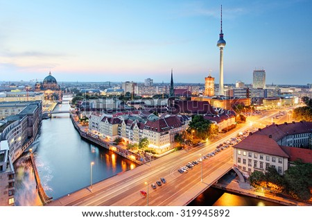 Berlin skyline - stock photo