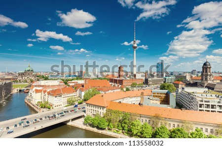 Berlin Skyline City Panorama with cloudy blue sky - famous landmark in Berlin, Germany, Europe - stock photo