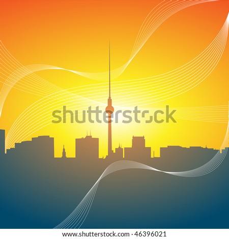 Berlin skyline in the morning - stock photo