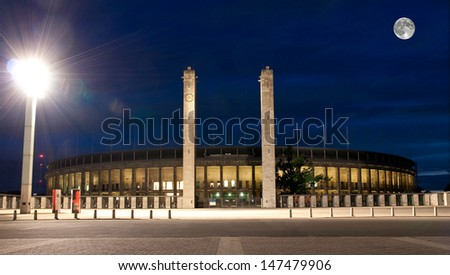 berlin, stadium, moon,olympic,sky,blue,night,germany,beautiful