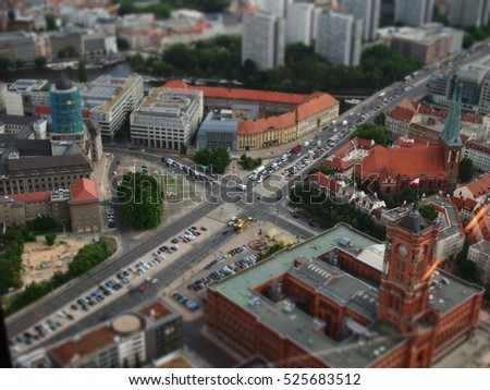 Berlin streets from top view with tilt-shift effect
