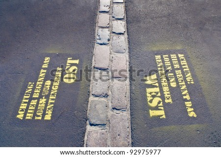 Berlin Wall path at Potsdamerplatz, Germany - stock photo