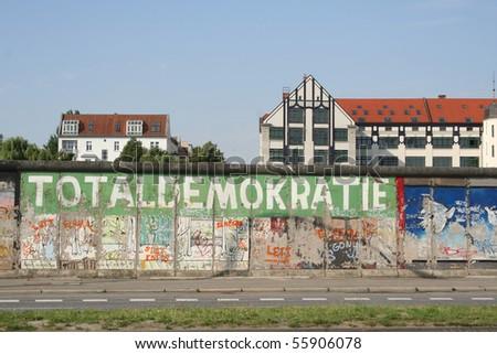 "Berlin Wall ""Totaldemokratie"" - famous landmark in germany - stock photo"