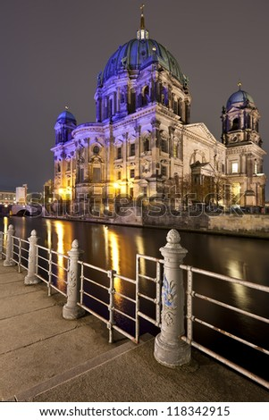 Berliner Dom at night, Berlin, Germany