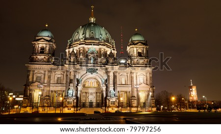 Berliner Dom (Berlin Cathedral) and Berliner Fernsehturm (TV Tower), at night, Berlin, Germany, Europe - stock photo