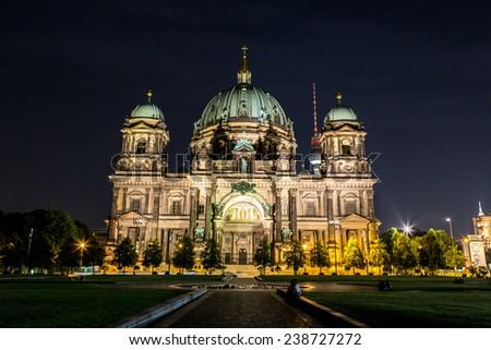Berliner Dom in Berlin at summer nigth - stock photo