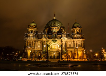Berliner Dome at night, Berlin, Germany - stock photo
