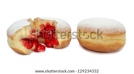Berliner with jam on white background. - stock photo