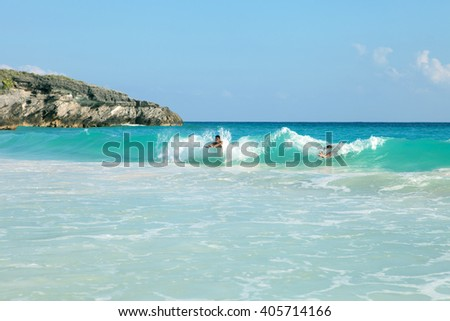 Bermuda Beach Swimmers - stock photo