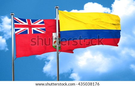 bermuda flag with Colombia flag, 3D rendering