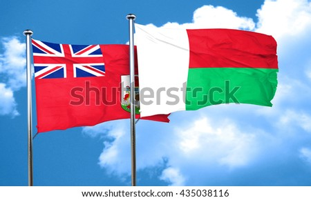 bermuda flag with Madagascar flag, 3D rendering