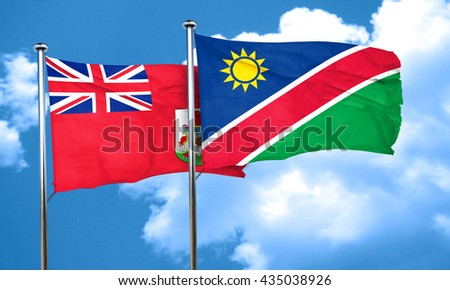 bermuda flag with Namibia flag, 3D rendering