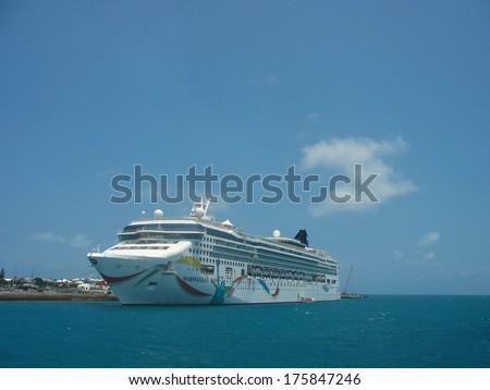BERMUDA - JUNE 13:Norwegian Dawn Cruise Ship docked in Bermuda on June 13, 2008. Norwegian Dawn was the first Norwegian Cruise Line vessel to carry hull art.  - stock photo