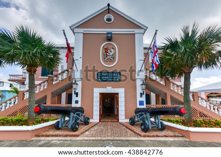 Bermuda - May 21, 2016: Saint George's Town Hall located at the eastern side of King's Square in St. Georges Bermuda. The building was originally constructed in 1782 during the British colonial days.