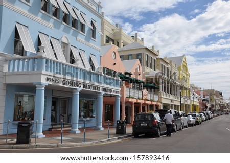BERMUDA - SEPT 12: Downtown Hamilton in Bermuda, as seen on September 12, 2013. It is the capital of the British Overseas Territory of Bermuda, financial center, major port and tourist destination. - stock photo