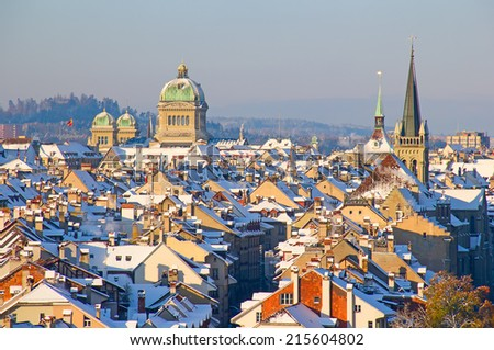 Bern city covered with fresh snow - stock photo