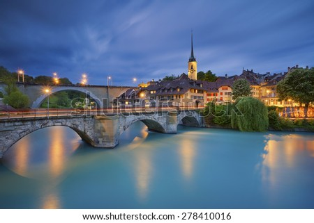 Bern.Image of Bern, capital city of Switzerland, during twilight blue hour. - stock photo