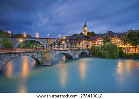 Bern.Image of Bern, capital city of Switzerland, during twilight blue hour. - stock photo