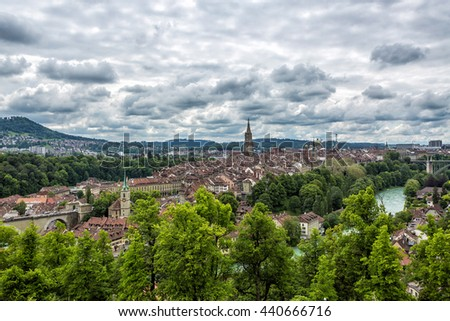 Bern old town from mountain top in rose garden, Switzerland.