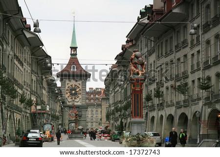 BERN, SWITZERLAND - DECEMBER 15: On the sidewalk of Bern, the capital city of Switzerland December 15, 2007 in Bern, Switzerland. - stock photo