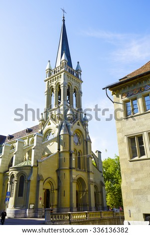 BERN, SWITZERLAND - SEPTEMBER 13, 2015: Church of St. Peter and Paul, was built from 1858 to 1864. It is Christian Catholic Church of Switzerland - stock photo