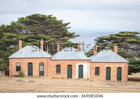 Bernacchi Terraces, old renovated houses at Darlington Convict Settlement on Maria Island, Tasmania, Australia, now a National Park and World Heritage Site. - stock photo
