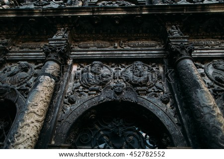 Bernardine Cathedral patterns close up. Ancient historical church and monastery located in Old Town of Lviv