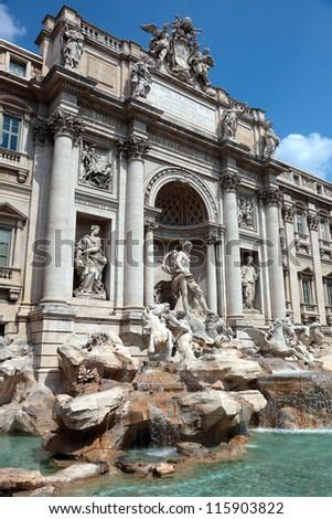 Bernini Fountain Trevi , in the middle of Piazza di Trev i, Rome, Italy - stock photo