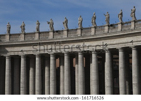 Berninis columns at St. Peters Square, Vatican City