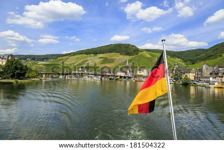 Bernkastel-Kues - town in Rhineland-Palatinat e region of Germany. Old decorative houses and vineyards next to Mosel river.  - stock photo