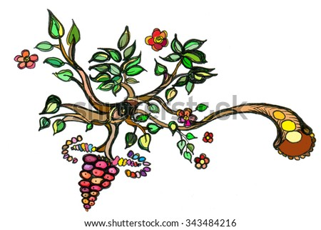 Berries branch with leaves and flowers - stock photo