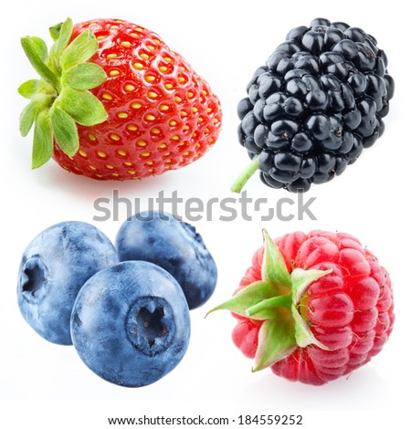 Berries - raspberry, strawberry, blueberry, mulberry. Collection isolated on white - stock photo