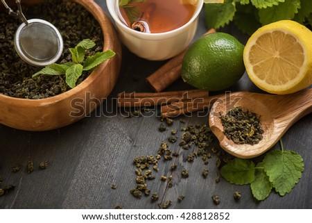 berries tea composition - stock photo