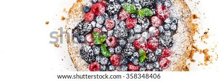 Berry Cake. Panoramic image. Selective focus. - stock photo
