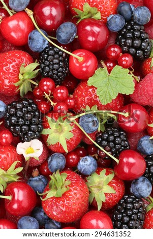 Berry fruits background with strawberries, blueberries, currants, cherries, raspberries and blackberries
