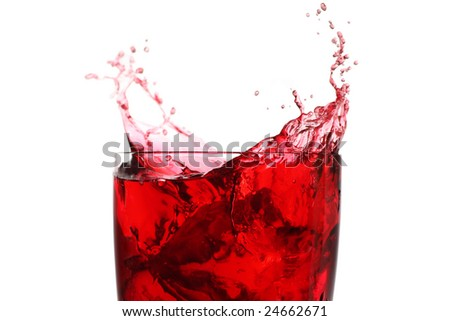 berry juice drink with a ice and a splash - stock photo