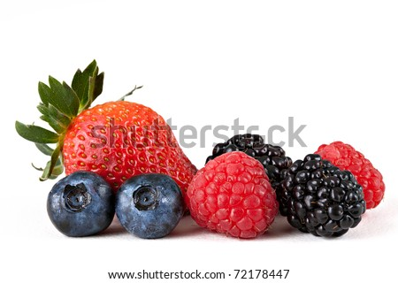 Berry Mix Macro: Strawberry, Blueberries, Raspberries and Blackberries Isolated Against White Background - stock photo