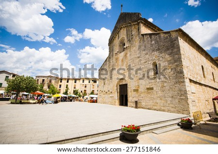 BESALU, SPAIN - JULY 20: : View of historic center (medieval village) on July 20, 2014 in Besalu, Catalonia, Spain. Besalu was designated as a historical national property in 1966.
