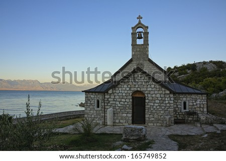 Beska church, Lake Skadar, Montenegro in the evening light - stock photo