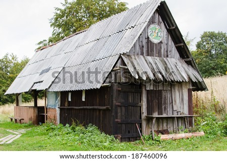 BESKIDY MOUNTAINS, POLAND - OCTOBER 10: Student shelter in Beskidy mountains, Poland on October 10, 2013. Shelters are used for primitive and short term accomodation.