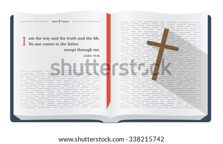 Best Bible verses about Jesus Christ as the only way to heaven - John 14:6. Holy scripture inspirational sayings for Bible studies and Christian websites, illustration isolated over white background - stock photo